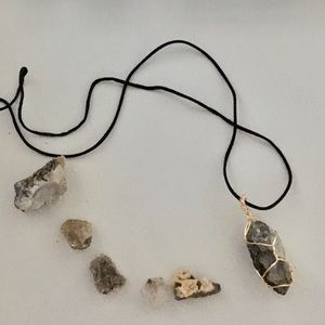 Crystal Handmade Wire-wrapped Necklace Gold Grey